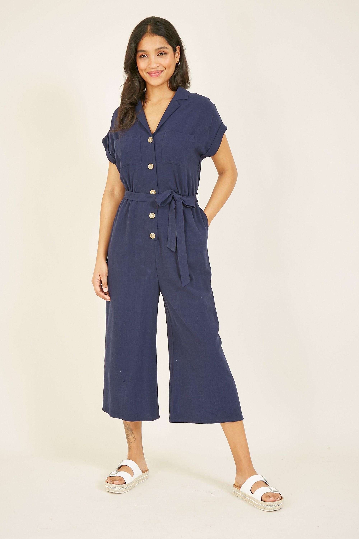 Yumi Navy Linen Jumpsuit