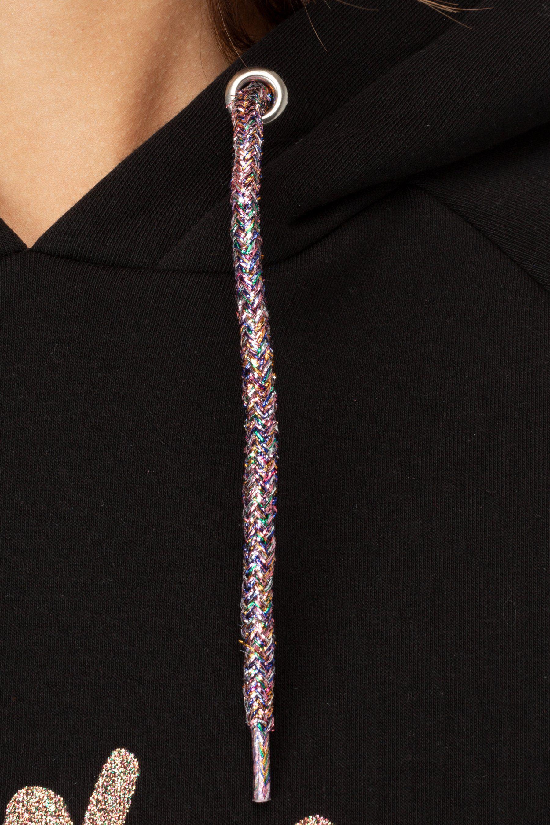 Hype Glitter Script Womens Crop Pullover Hoodie