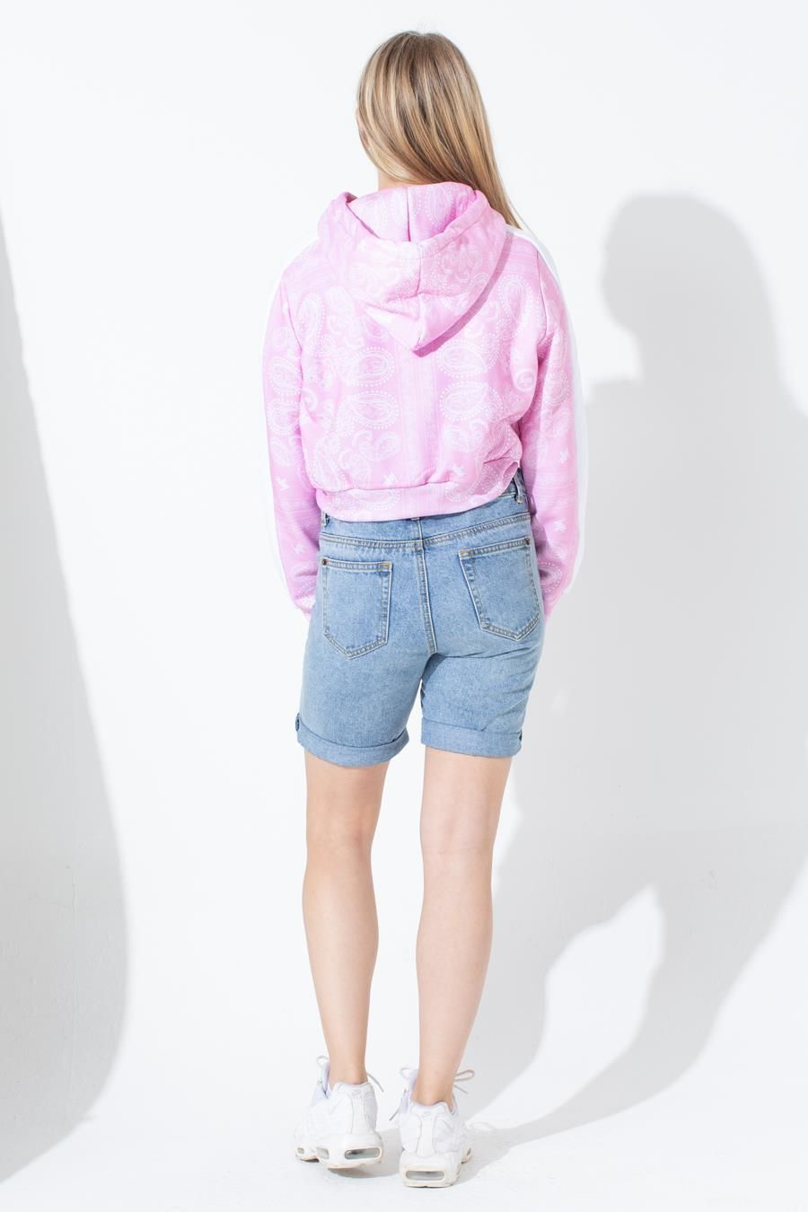 Hype Pink Bandana Kids Crop Hoodie