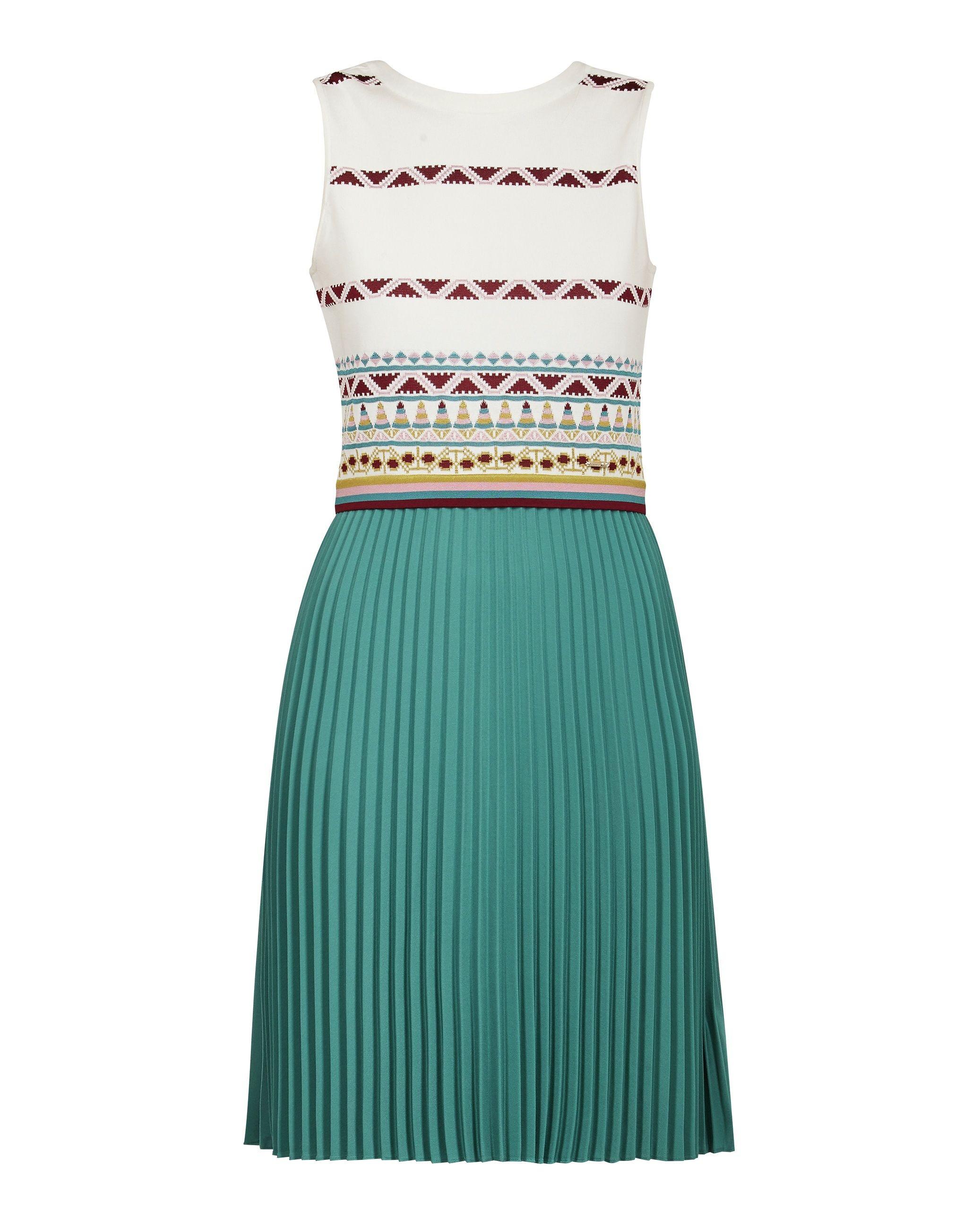 Ted Baker Zannan Cbn Knit Top Woven Pleat Skirt Dress, Ivory