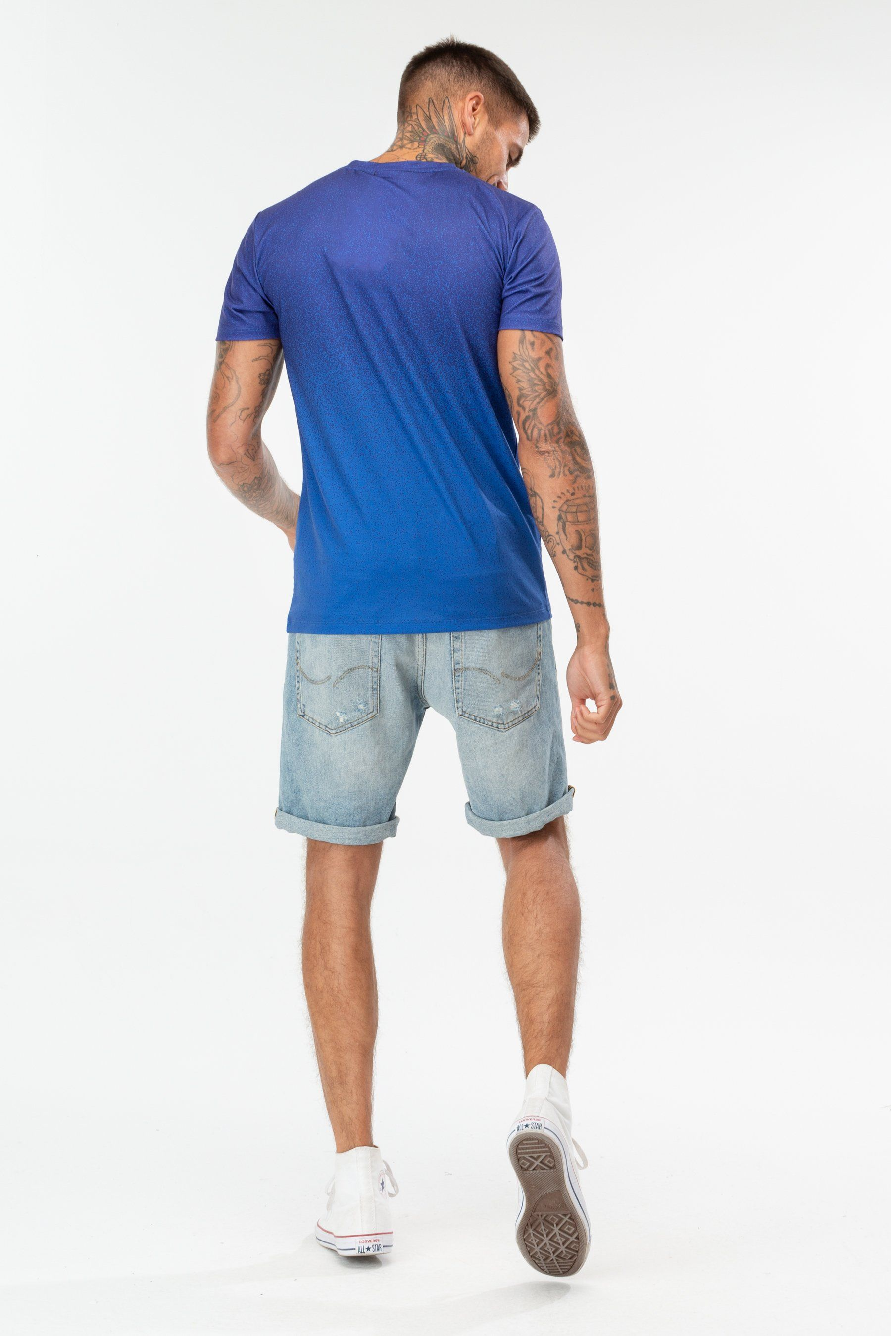 Hype Blue Speckle Fade Crest Mens T-Shirt