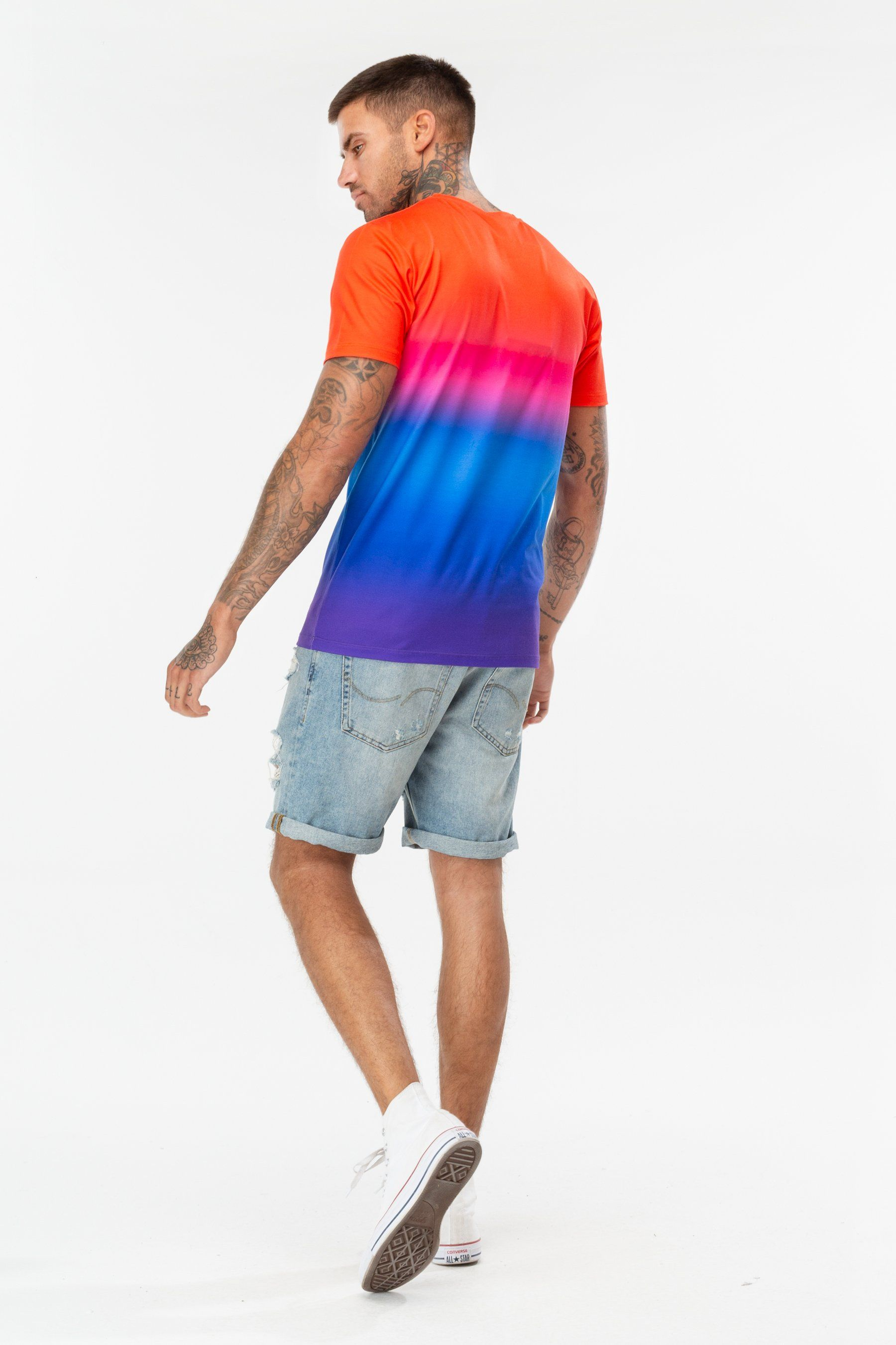 Hype Red Rainbow Fade Mens T-Shirt S