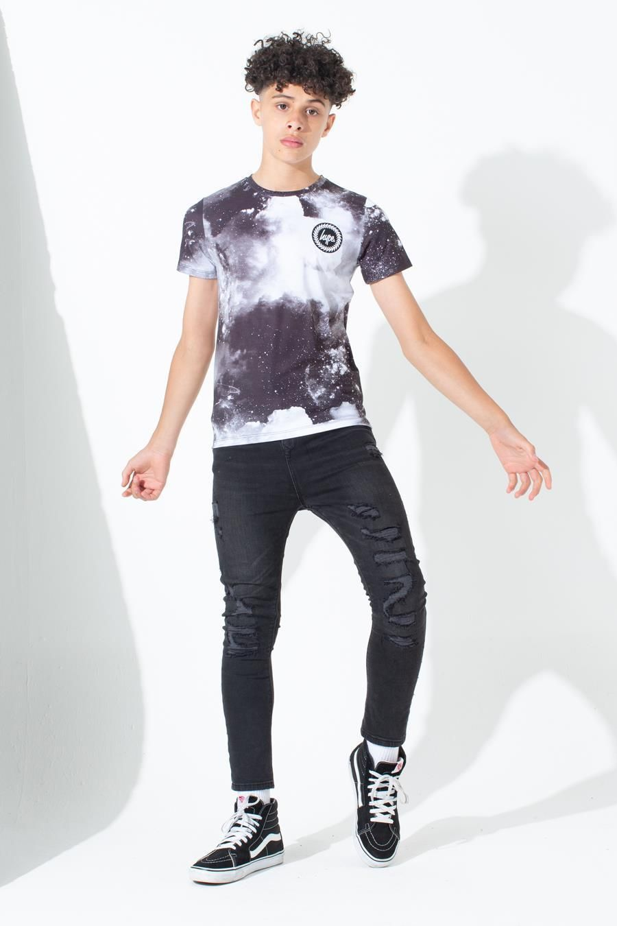 Hype Black Space Kids T-Shirt 7-8Y