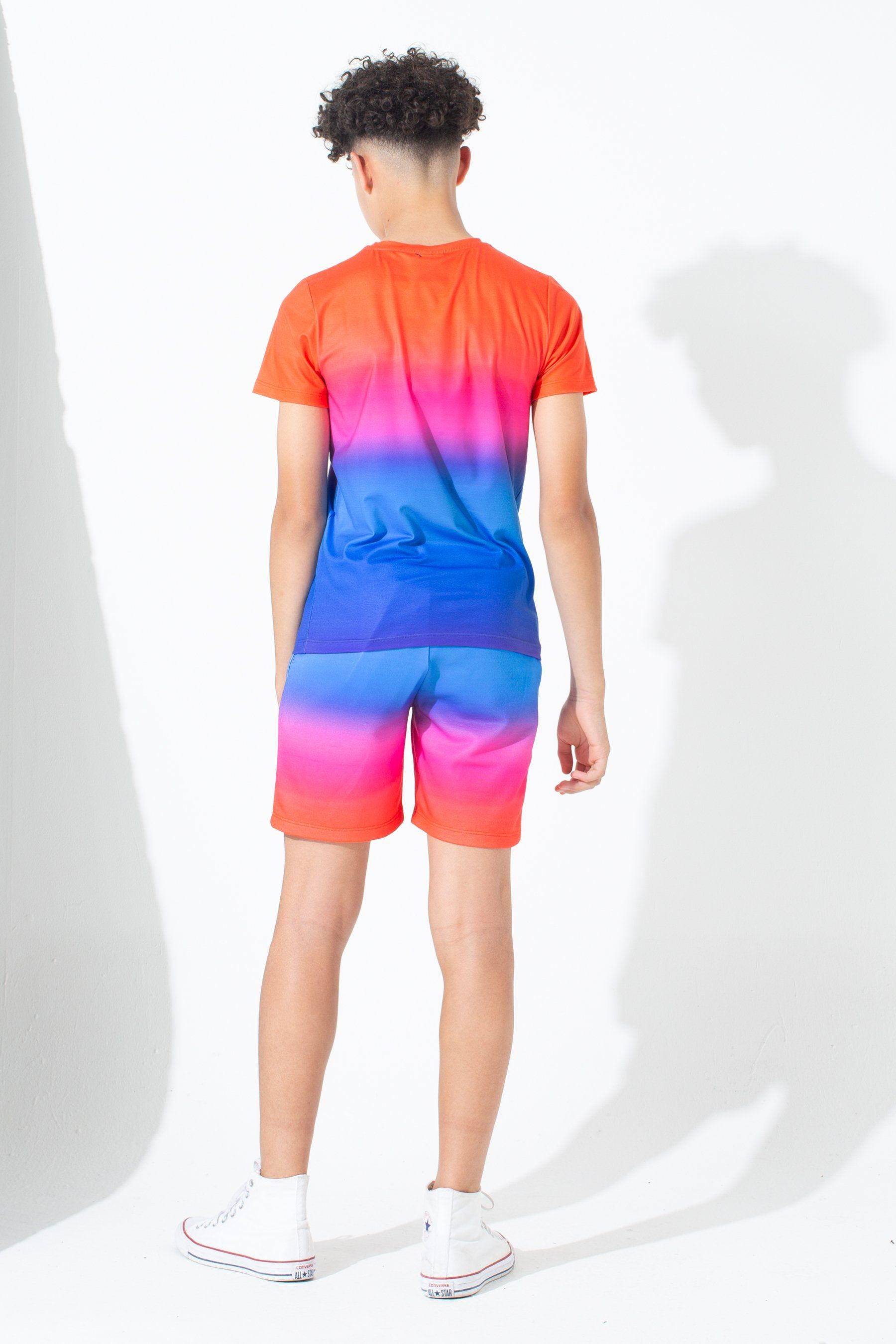 Hype Red Rainbow Fade Kids Shorts