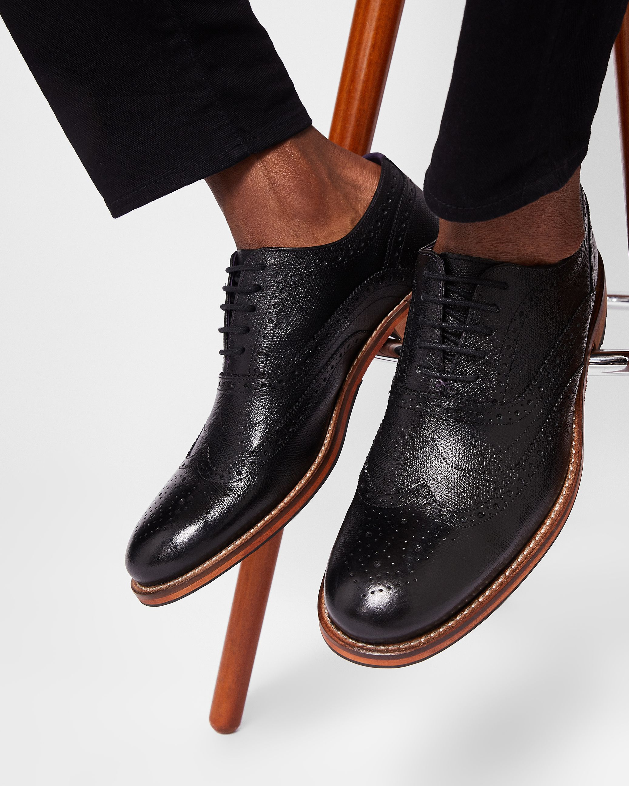 Guri Leather Brogue Shoe in Black