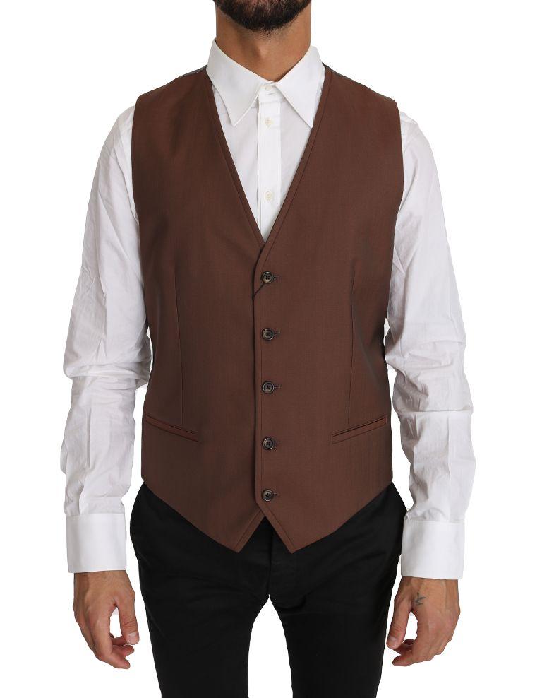 Dolce & Gabbana Brown Wool Silk Waistcoat Vest