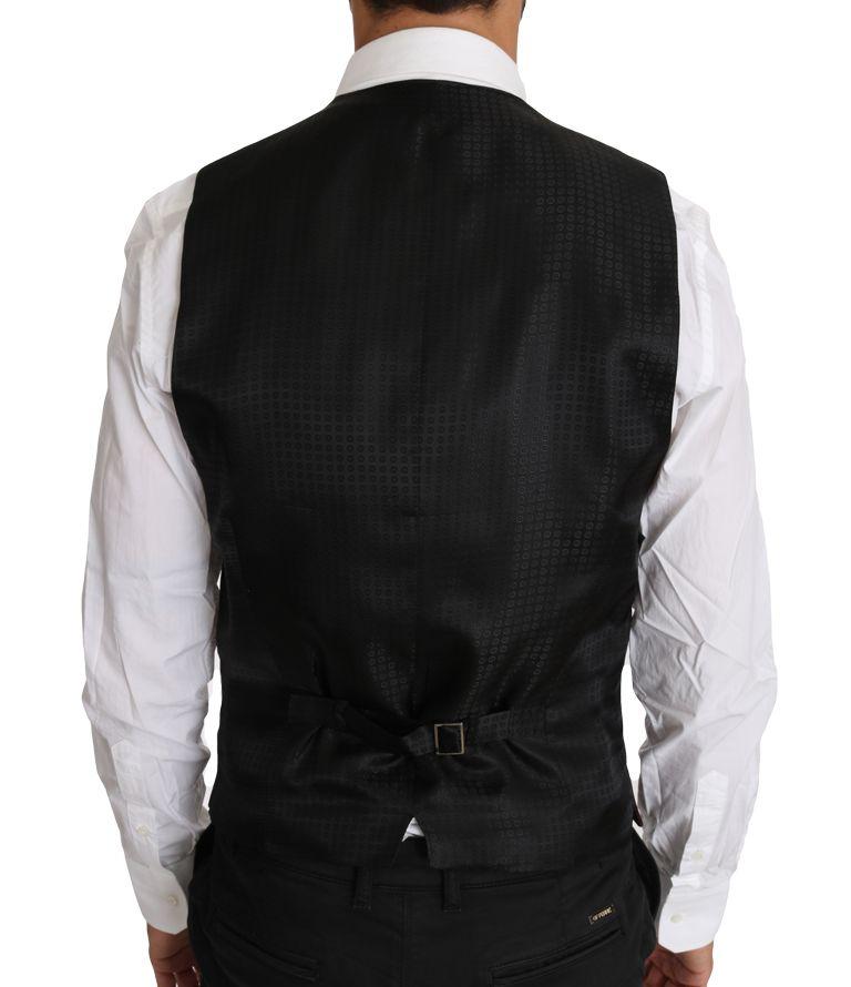 Dolce & Gabbana Purple Pattern Wool Silk Waistcoat Vest