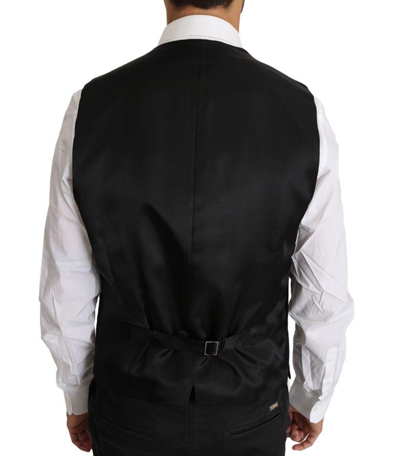 Dolce & Gabbana Gray Wool Silk Waistcoat Vest