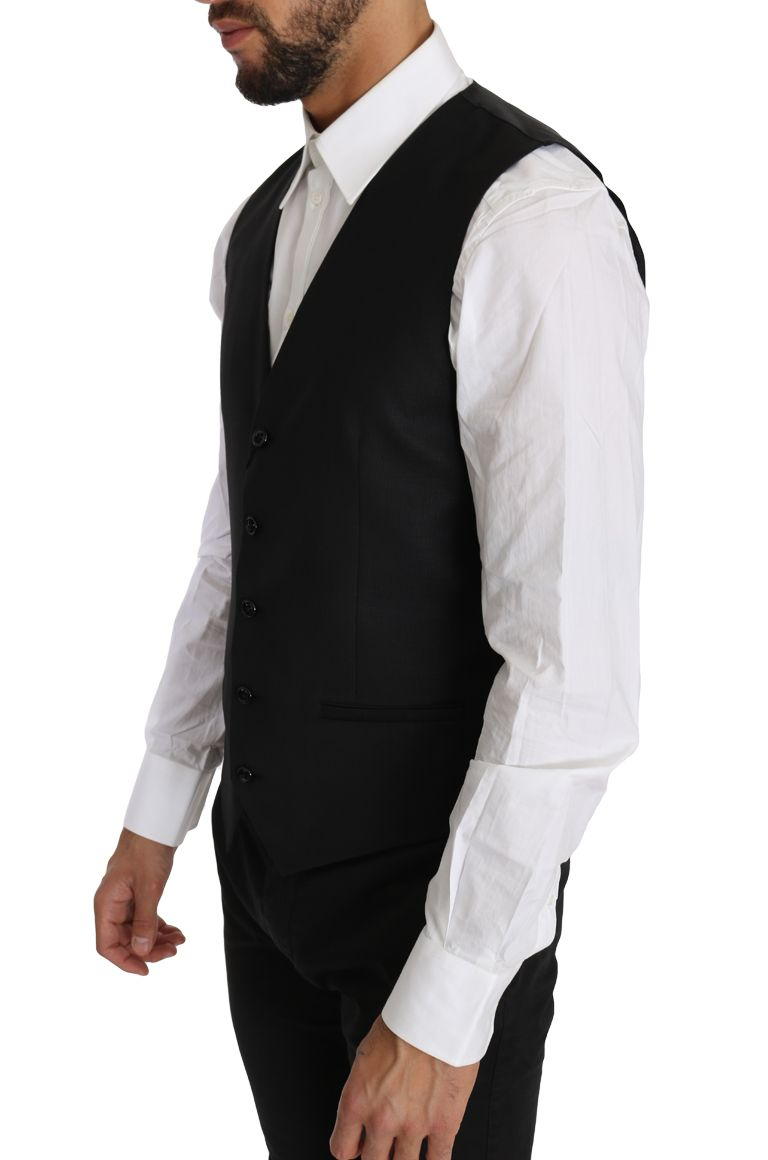 Dolce & Gabbana Black Solid Wool Silk Waistcoat Vest