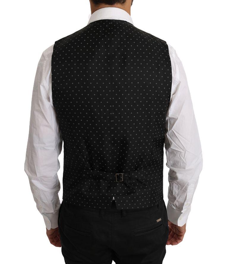 Dolce & Gabbana Black Solid 100% Wool Waistcoat Vest