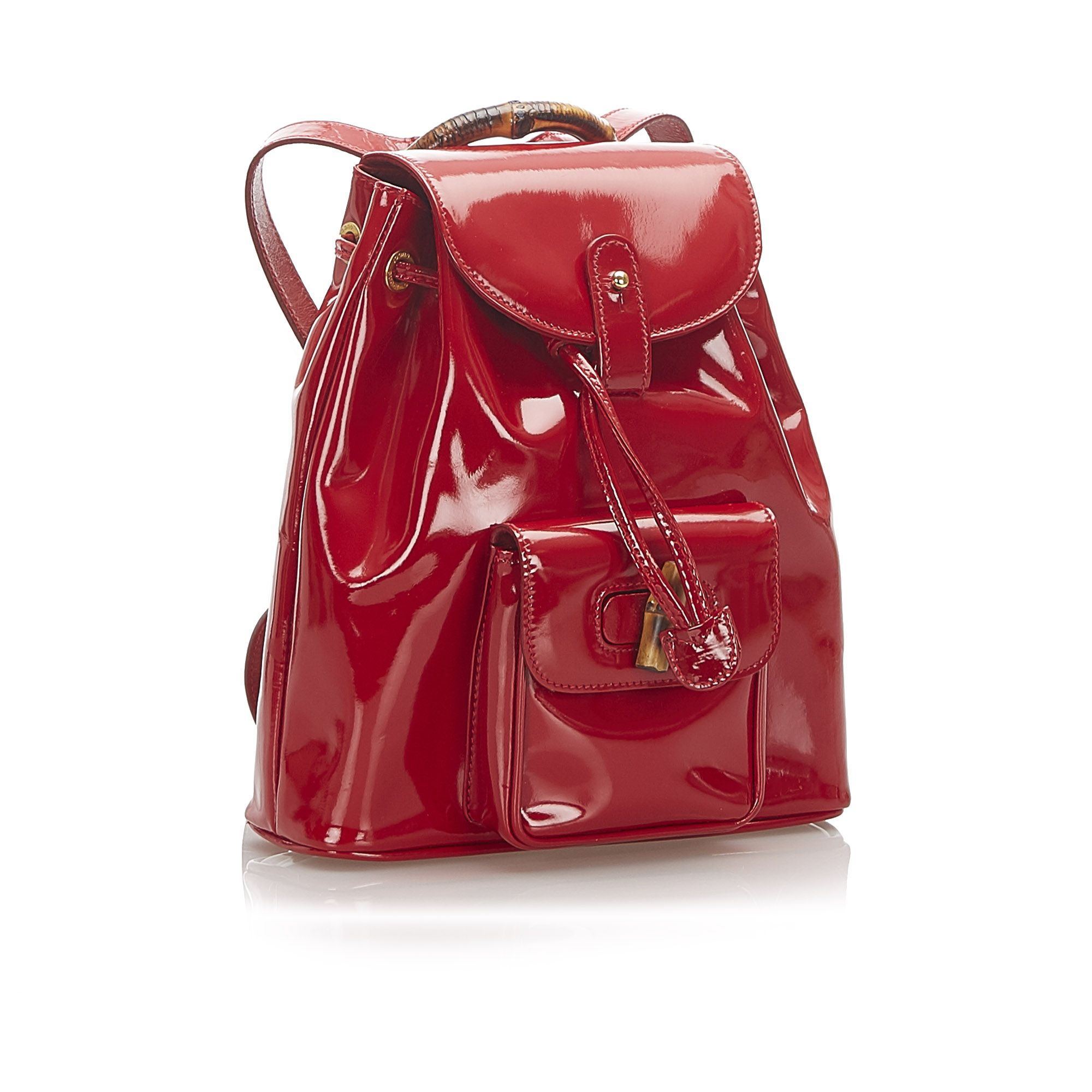 Vintage Gucci Bamboo Patent Leather Drawstring Backpack Red