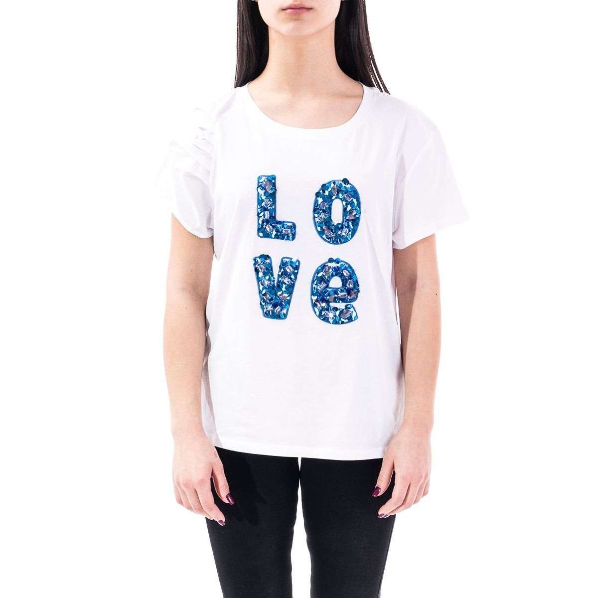 LIU JO WOMEN'S CA0119J5637T9002 WHITE COTTON T-SHIRT