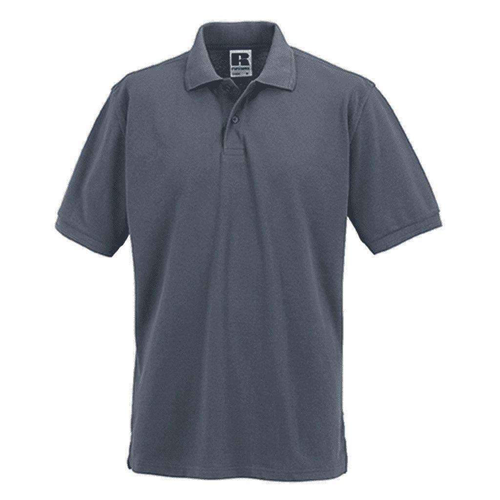 Russell Mens Ripple Collar & Cuff Short Sleeve Polo Shirt (Convoy Grey)