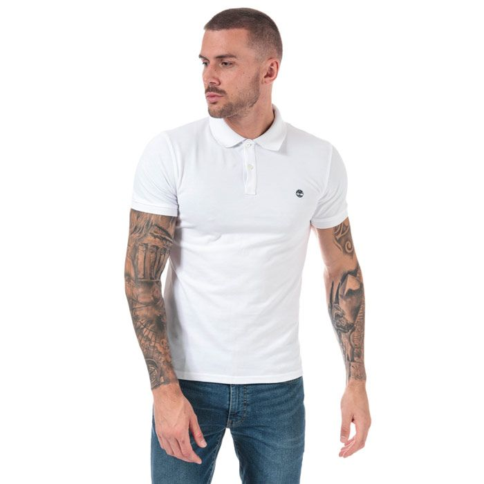 Men's Timberland Millers River Jacquard Polo Shirt in White