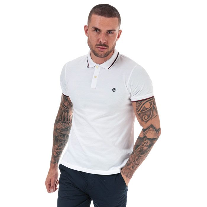 Men's Timberland Millers River Tipped Polo Shirt in White
