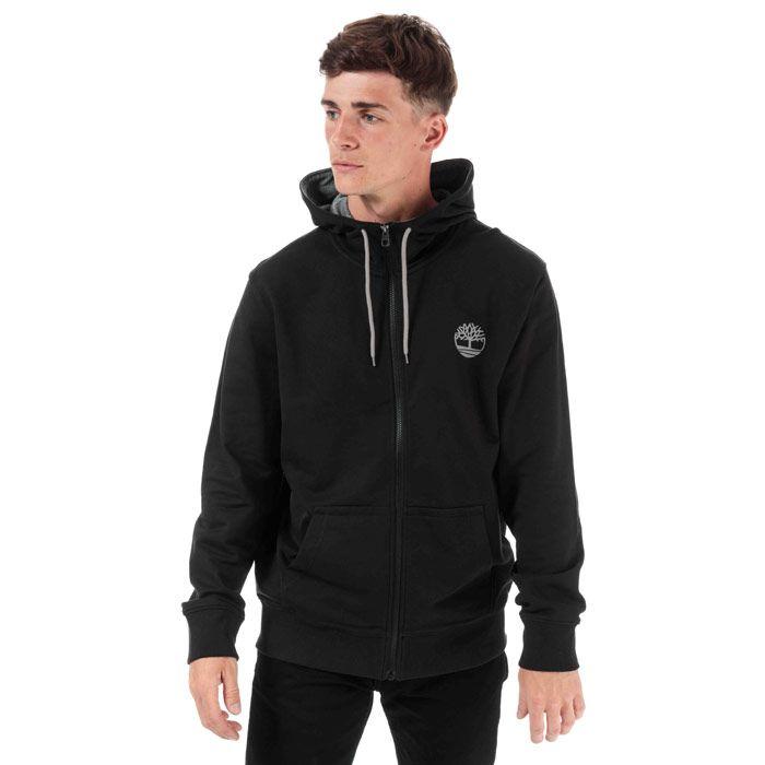 Men's Timberland Or Flock Logo Zip Hoodie in Black