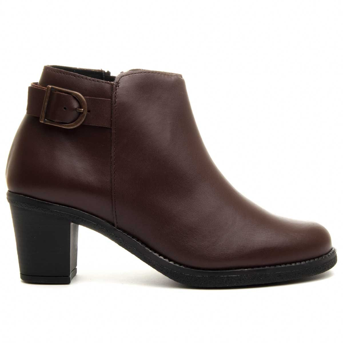 Purapiel Buckle Ankle Boot in Brown