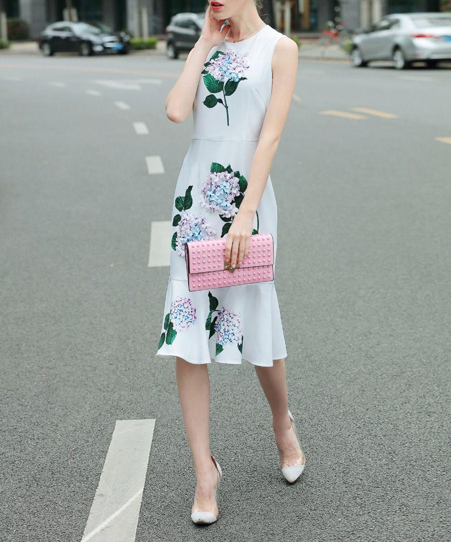 White & green flower print dress