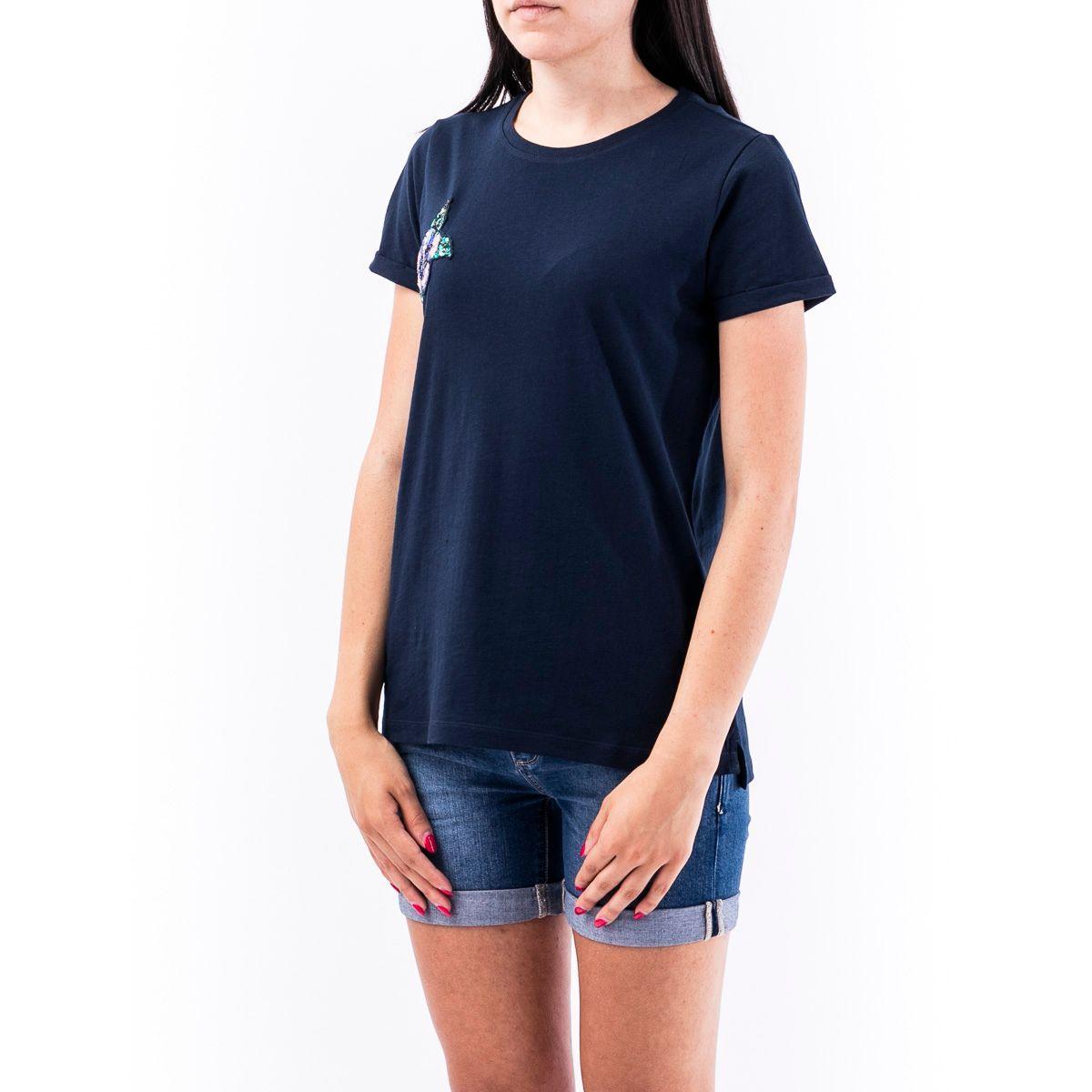 SUN 68 WOMEN'S T3021007 BLUE COTTON T-SHIRT