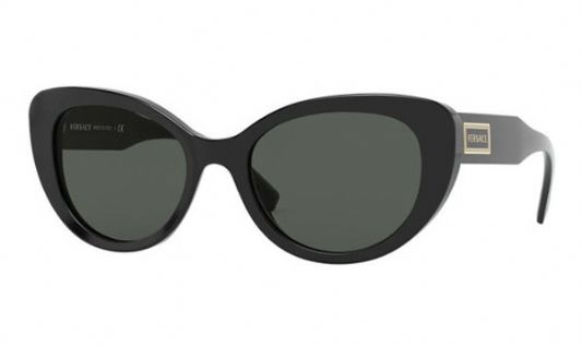 Versace Oval plastic Unisex Sunglasses Shiny Black / Grey