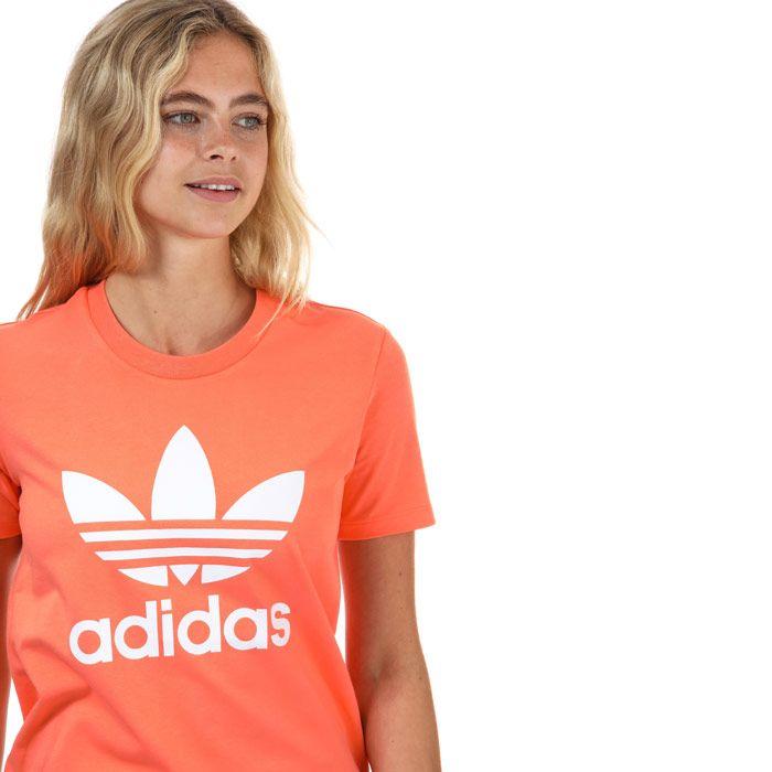 Women's adidas Originals Trefoil T-Shirt in Coral