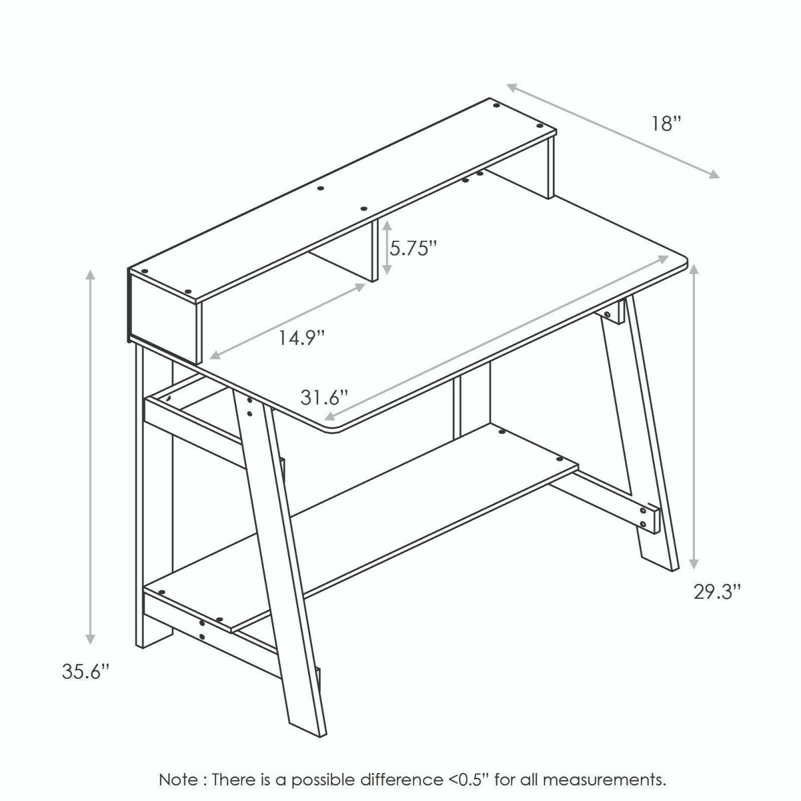 Furinno 14054DWN Simplistic A Frame Computer Desk, Dark Walnut