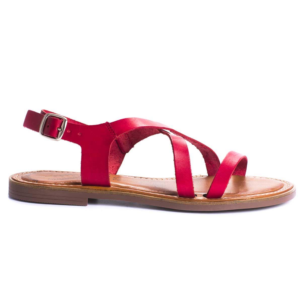 Purapiel Strappy Flat Sandal in Red