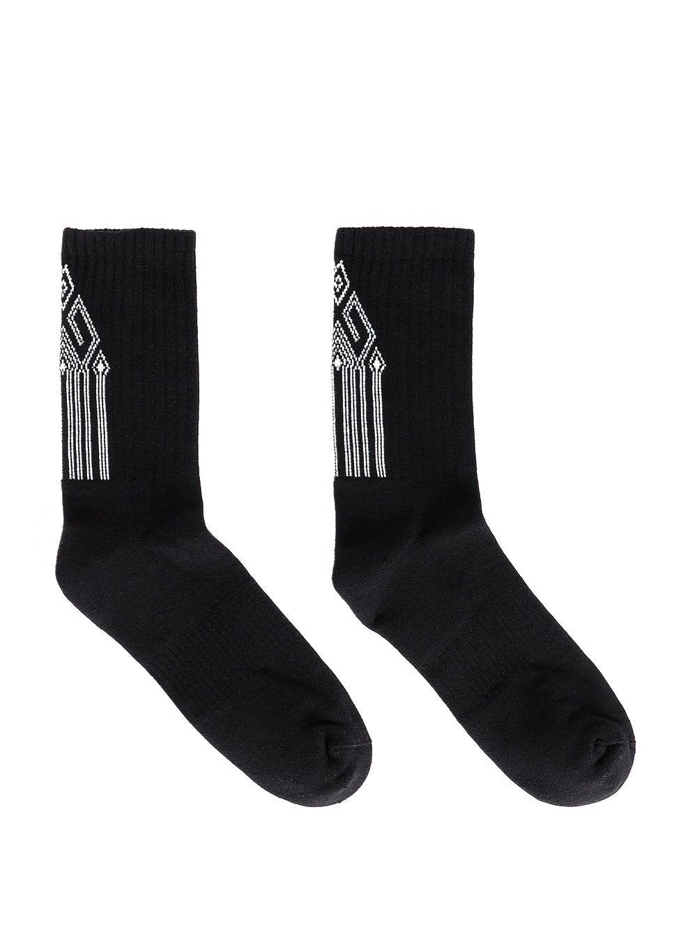 MARCELO BURLON MEN'S CMRA008R20FAB0081001 BLACK COTTON SOCKS