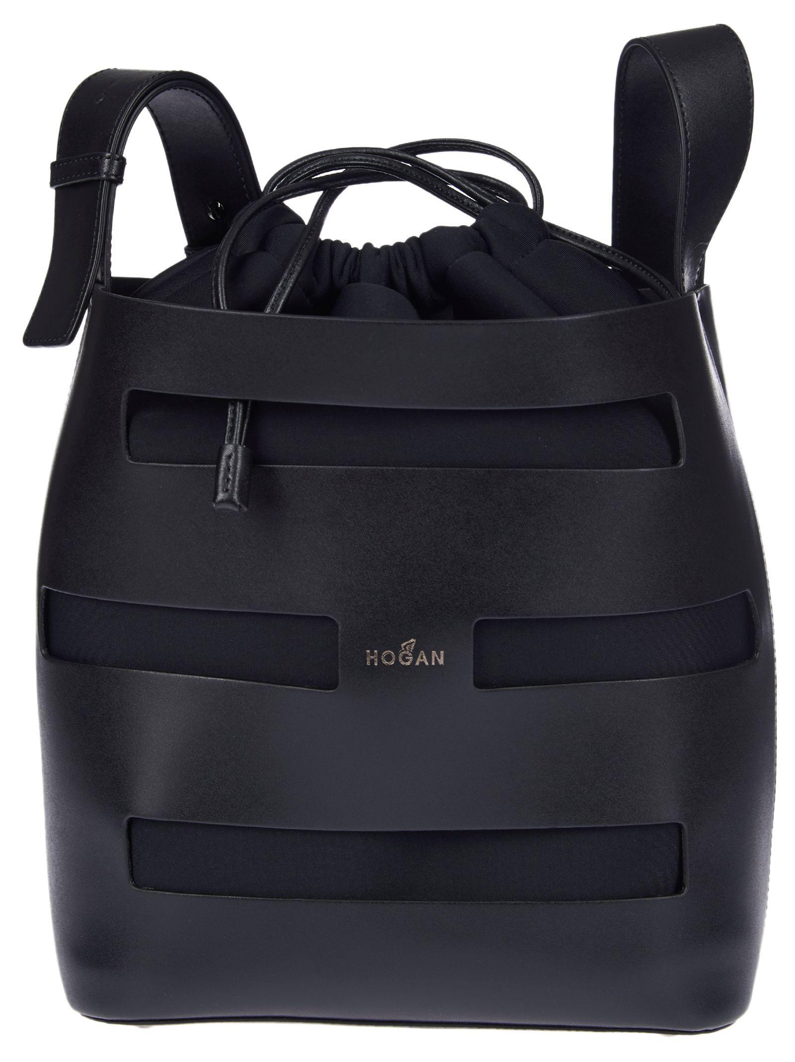 HOGAN WOMEN'S KBW015K1300LLCB999 BLACK LEATHER SHOULDER BAG