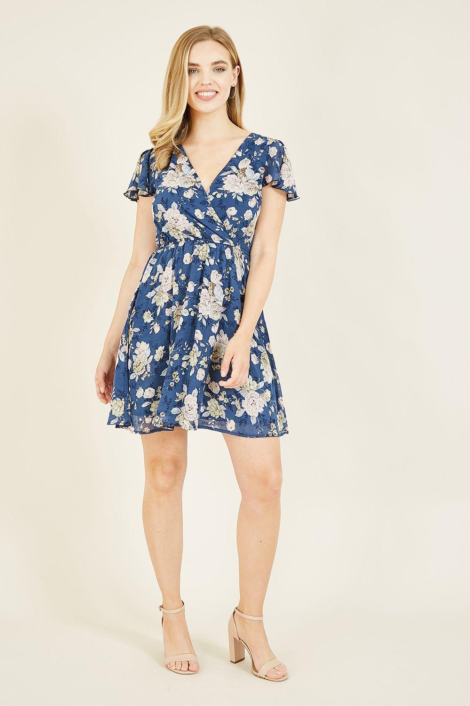 Mela Blue Floral Wrap Over Dress