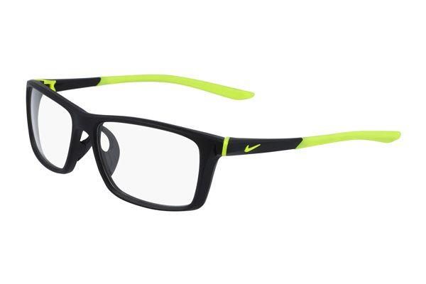 Nike Rectangular plastic Unisex Eyeglasses Matte Black / Volt / Clear Lens