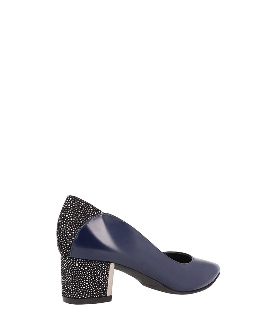 Navy leather block heels