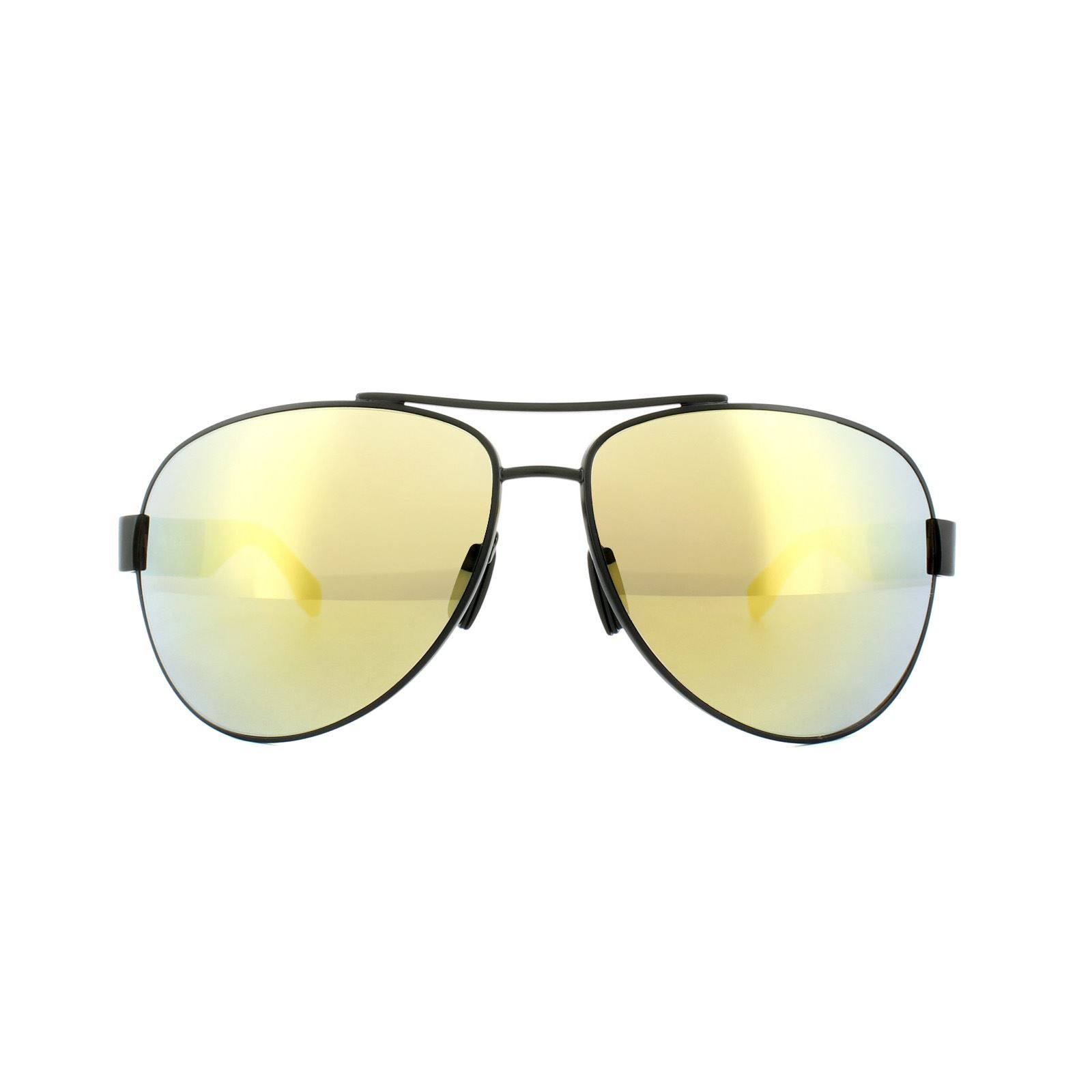 Hugo Boss Sunglasses 0915 1Y3 C4 Matt Black & Yellow Yellow Mirror Polarized
