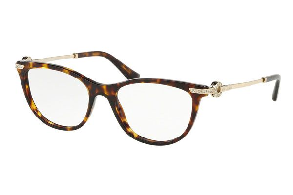 Bvlgari Oval plastic Women Eyeglasses Dark Havana / Clear Lens