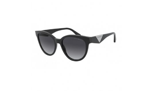 Emporio Armani Round plastic Women Sunglasses SHINY BLACK / GRADIENT GREY