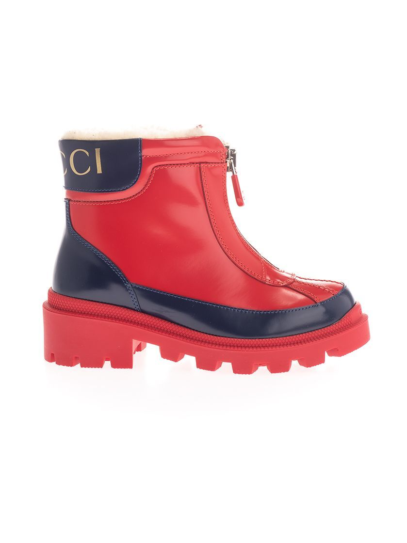 GUCCI GIRLS 580728D73F04568 RED LEATHER ANKLE BOOTS
