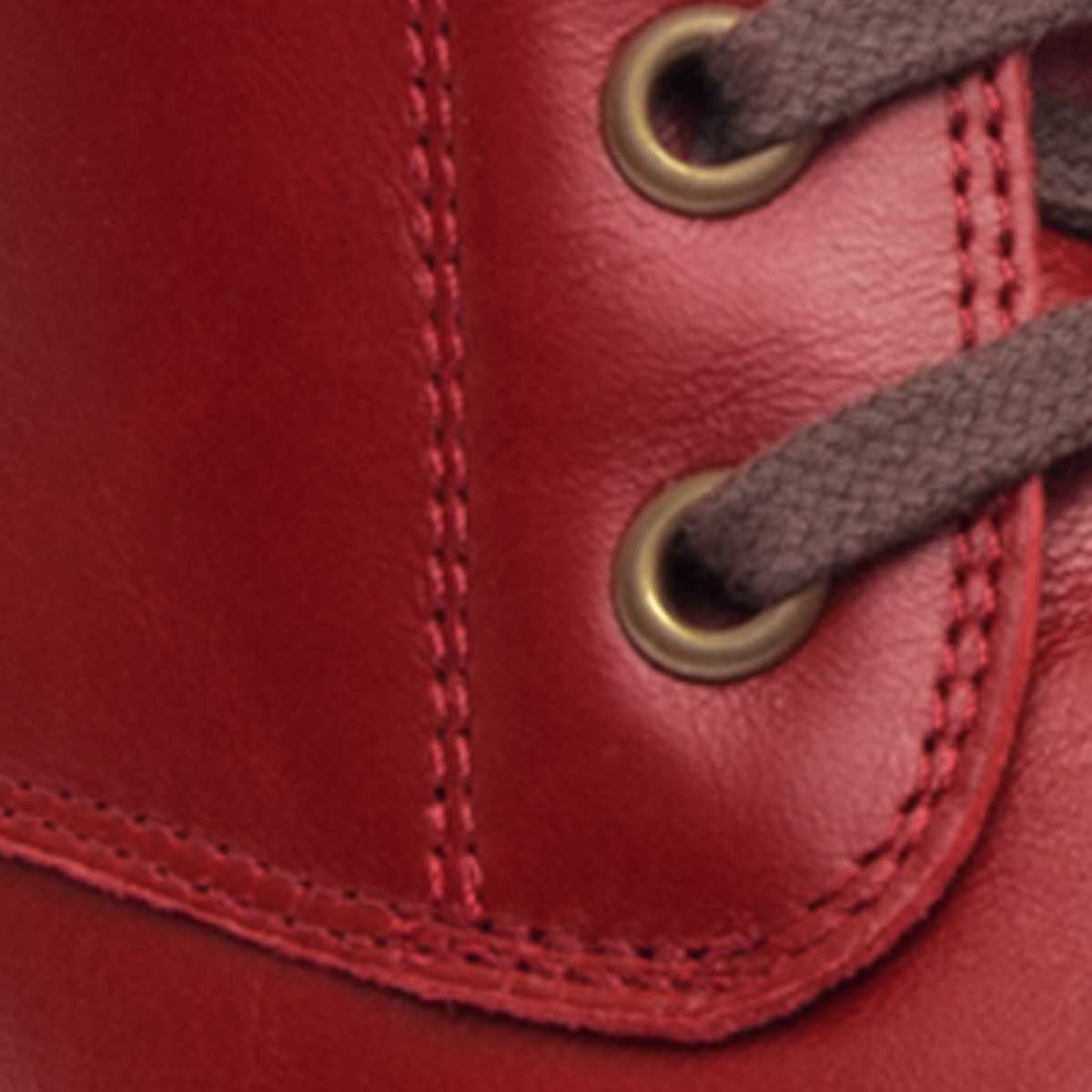 Purapiel Lace Up Ankle Boot in Red