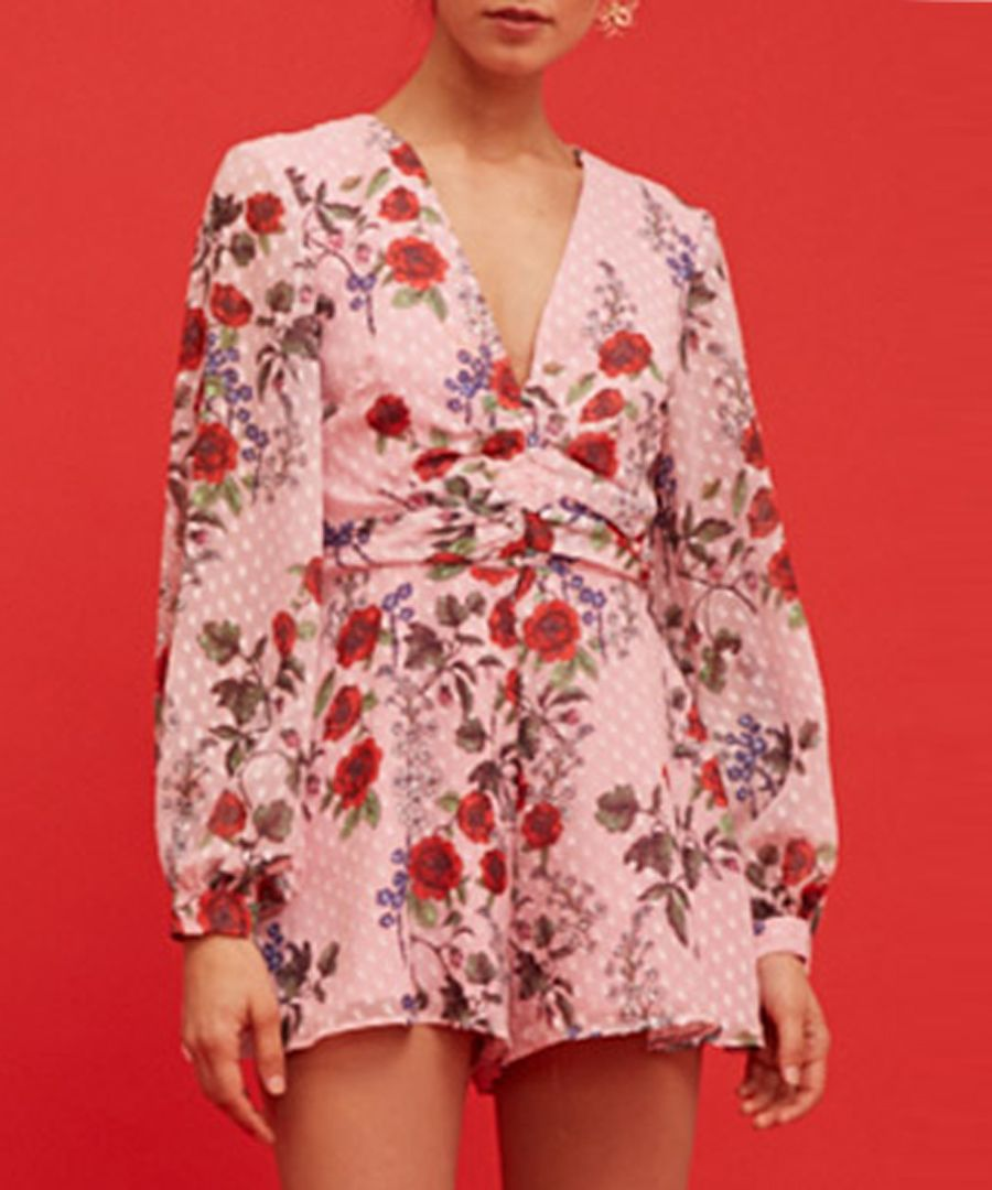 Need You Now pink floral playsuit