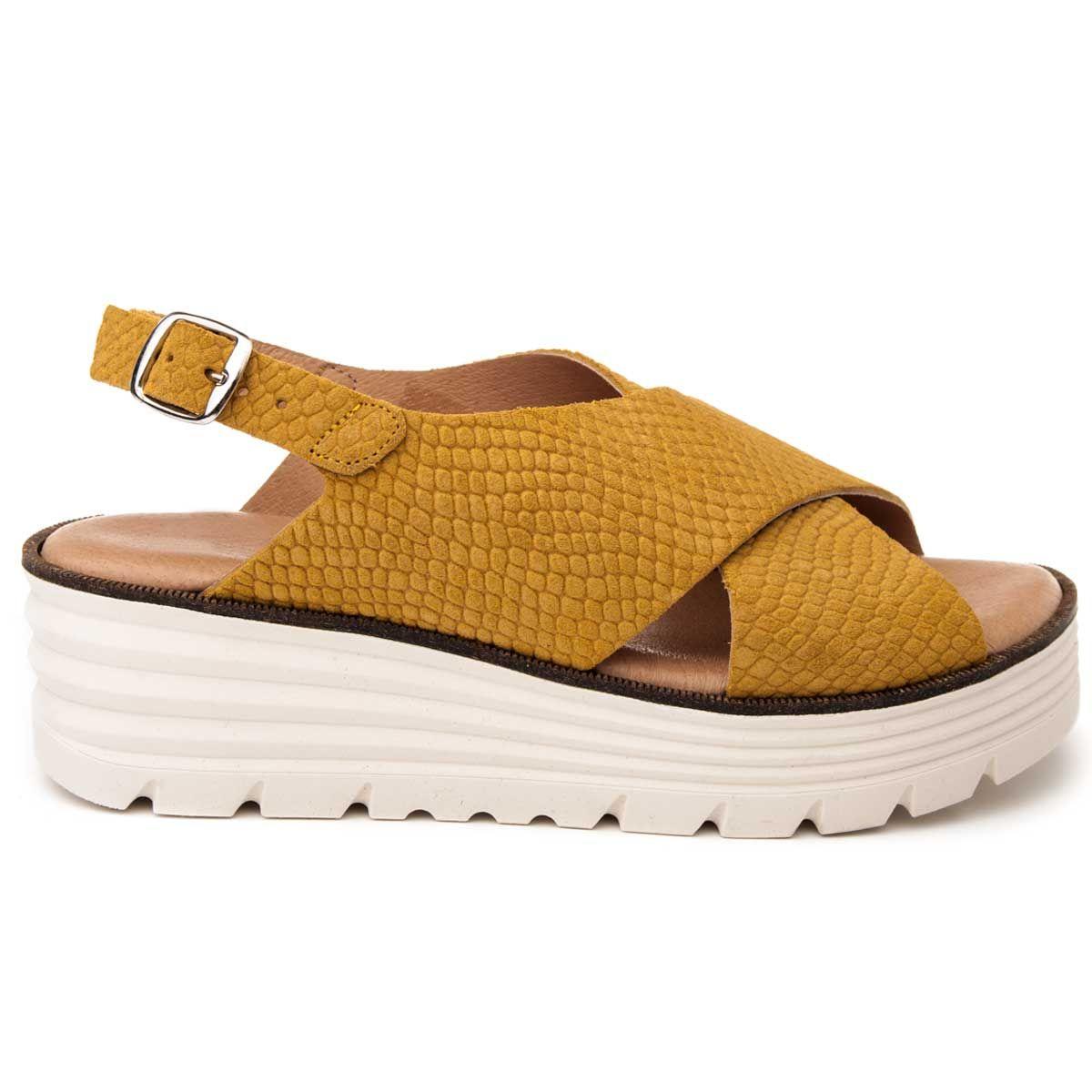 Purapiel Wedge Sandal in Mustard