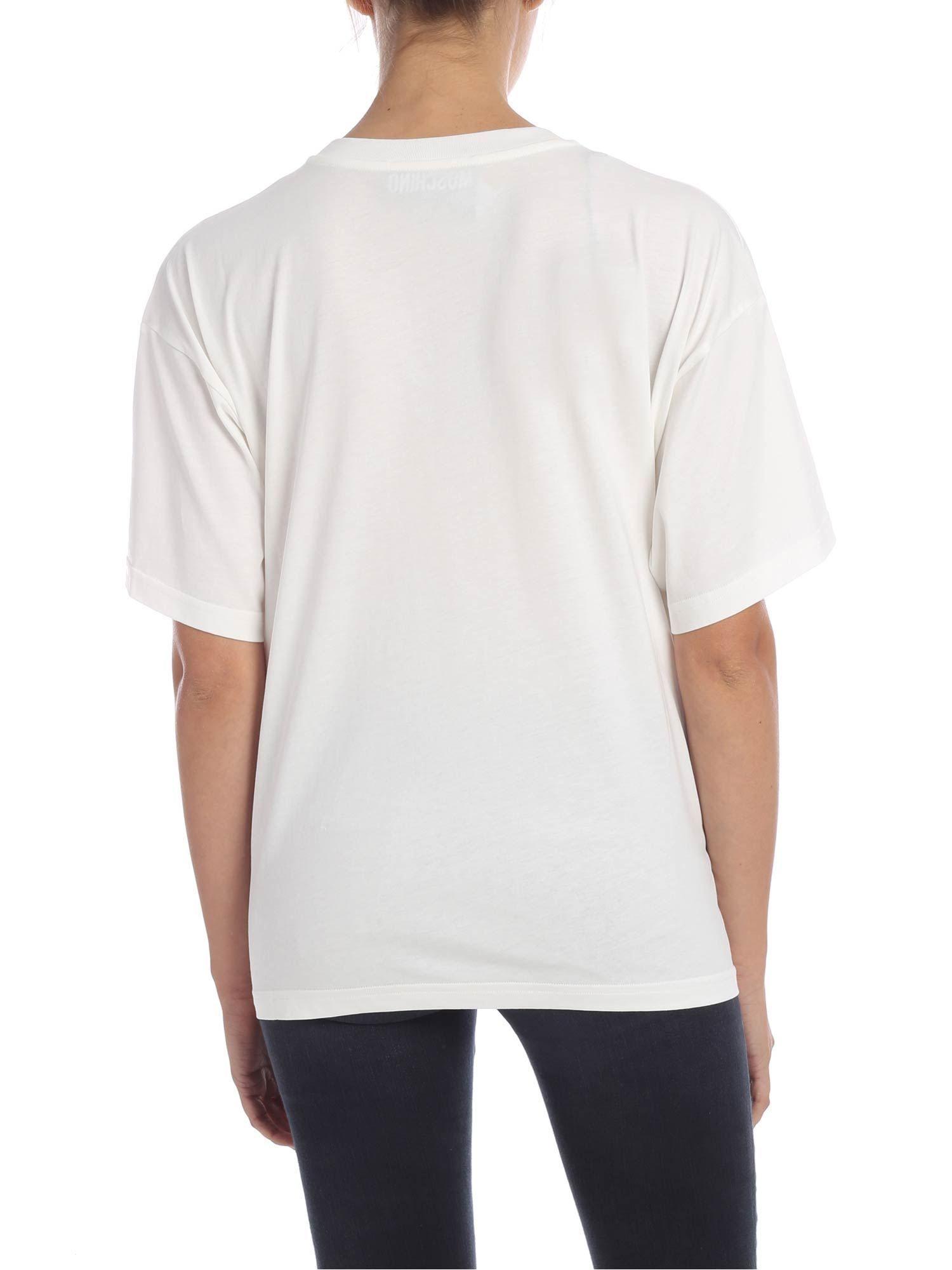 MOSCHINO WOMEN'S J071254403002 WHITE COTTON T-SHIRT