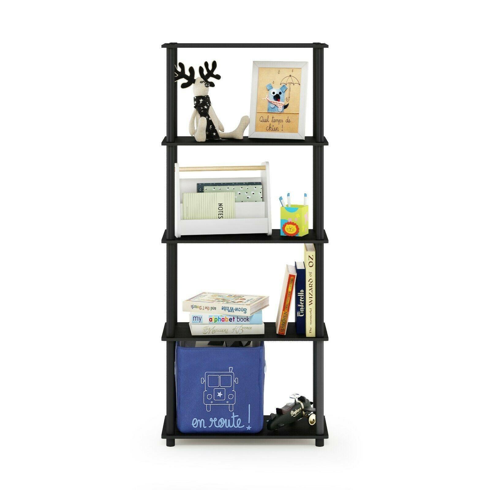 Furinno Turn-N-Tube 5-Tier Multipurpose Shelf Display Rack, Americano/Black
