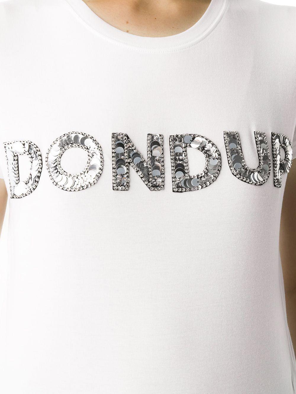 DONDUP WOMEN'S S007JS0241DZB9000 WHITE COTTON T-SHIRT