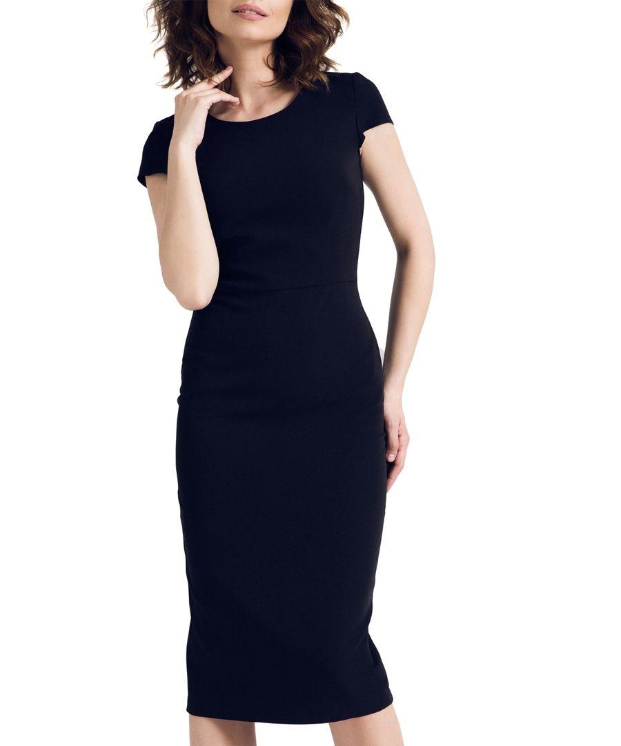 Black cap sleeve knee length dress