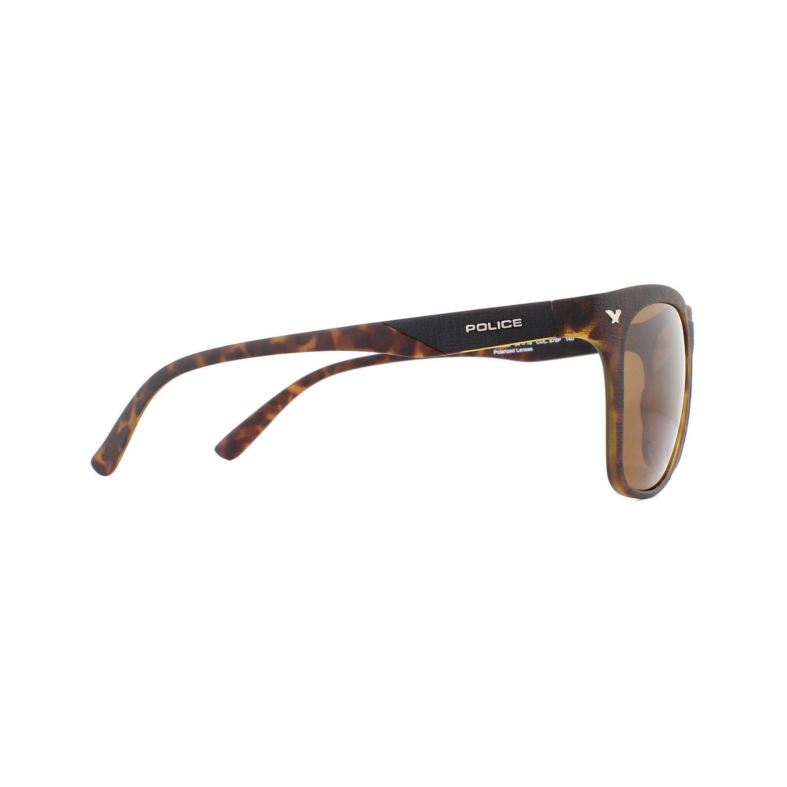 Police Sunglasses SPL113G Game 8 878P Matte Havana Brown Polarized