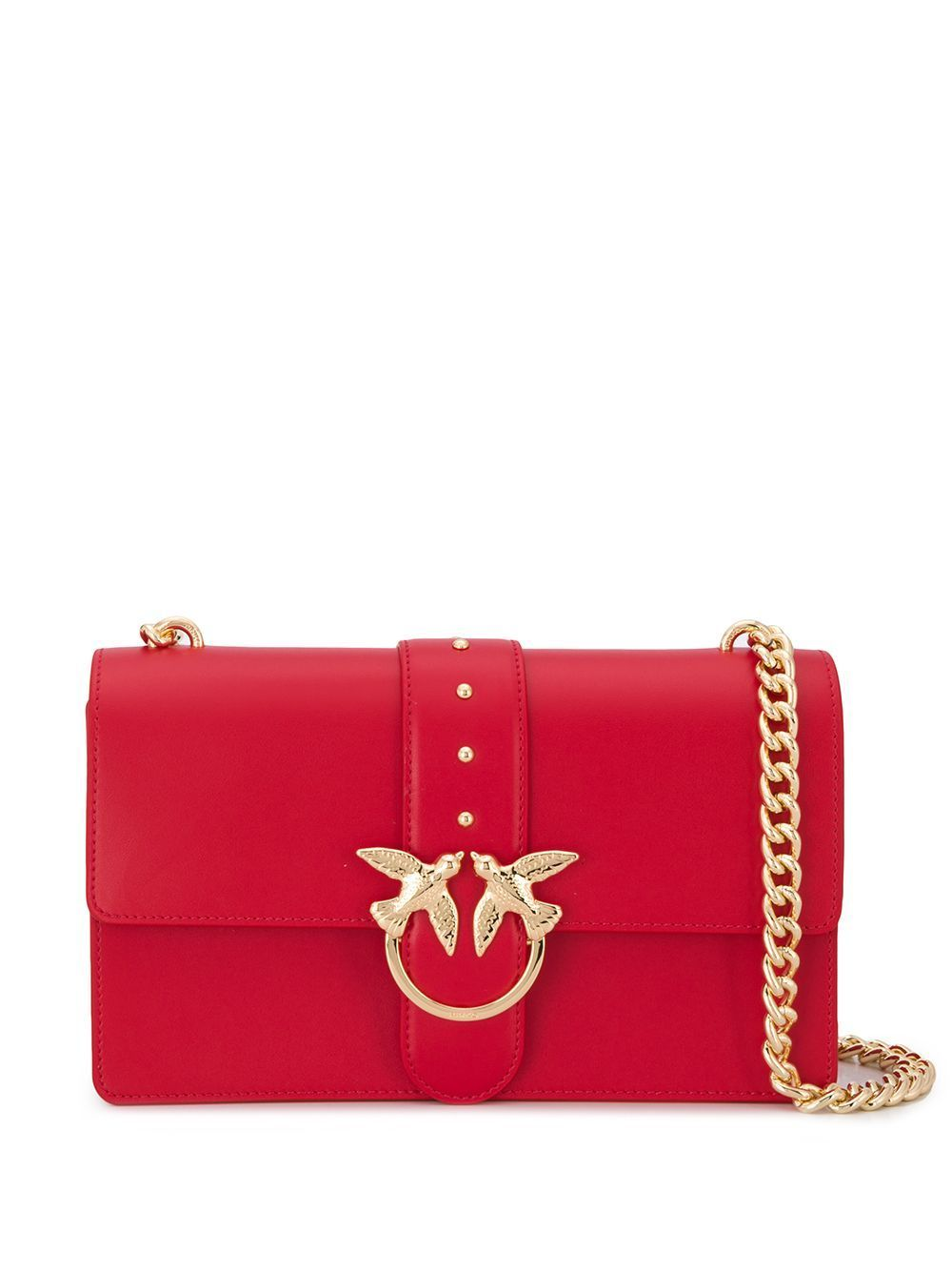 PINKO WOMEN'S 1P21KMY5FFR24 RED LEATHER SHOULDER BAG