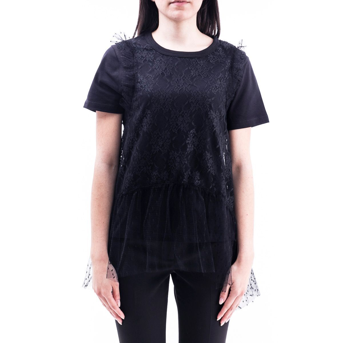 RED VALENTINO WOMEN'S TR0MG06D5530NO BLACK POLYESTER T-SHIRT