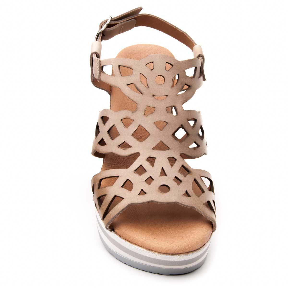 Purapiel Chunky Heel Sandal in Grey