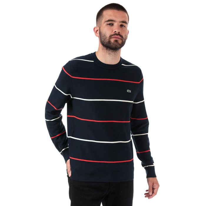 Men's Lacoste Crew Neck Striped Cotton Sweatshirt in Blue