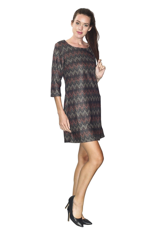 Assuili Boat Neck 3/4 Sleeve Printed Dress  in Black