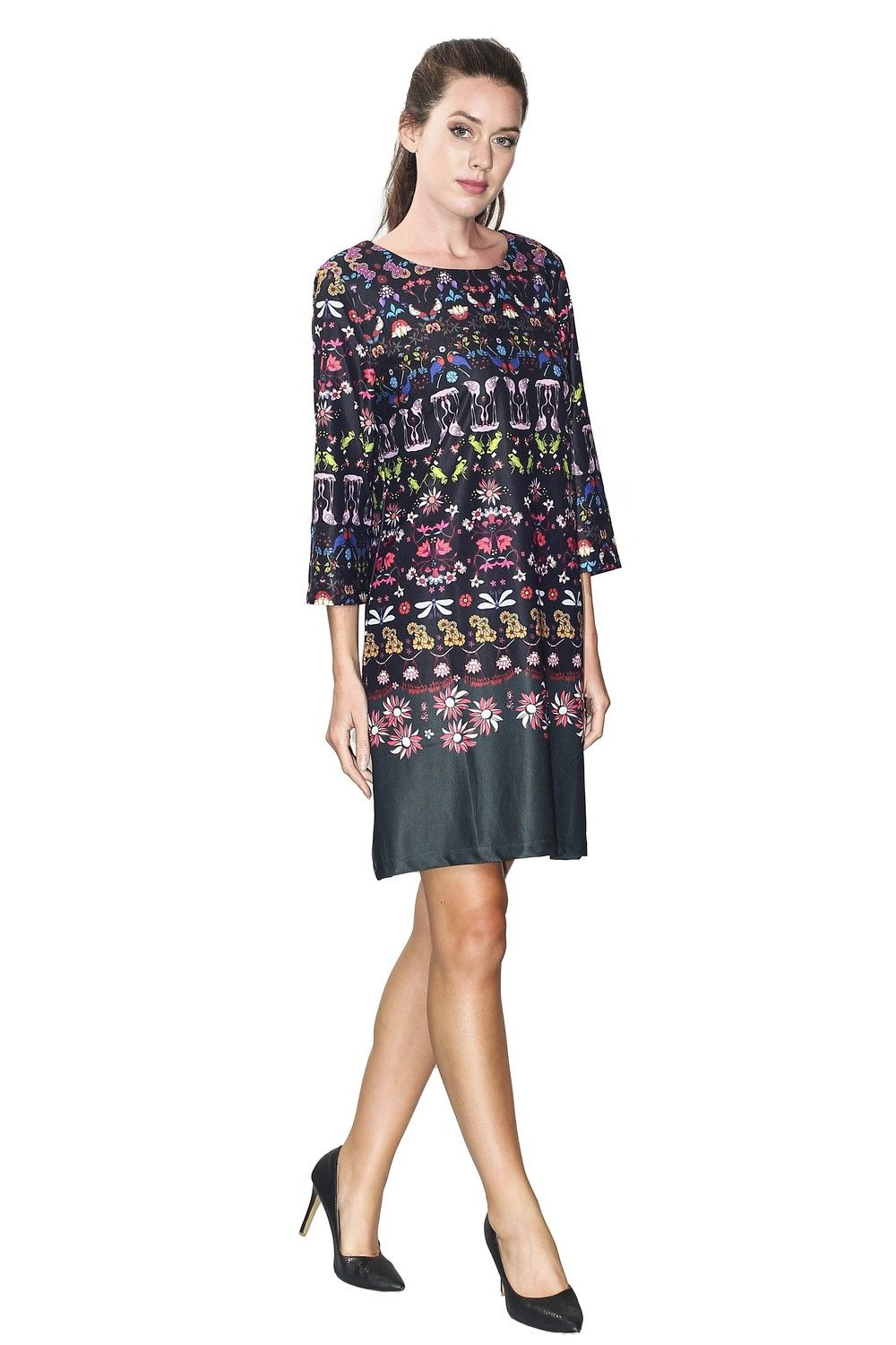 Assuili Boat Neck 3/4 Sleeve Printed Dress  in Black